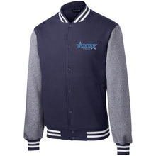 Load image into Gallery viewer, Roxtar Trux blue and silver embroidered logo ST270 Sport-Tek Fleece Letterman Jacket