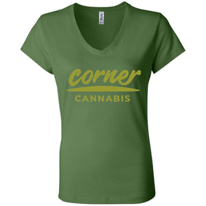 Corner Cannabis B6005 Ladies' Jersey V-Neck T-Shirt