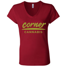 Load image into Gallery viewer, Corner Cannabis B6005 Ladies' Jersey V-Neck T-Shirt