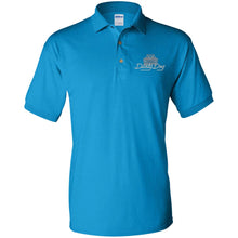 Load image into Gallery viewer, Dusty Dog silver embroidered logo G880 Gildan Jersey Polo Shirt