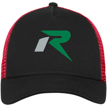 Load image into Gallery viewer, R silver & green embroidered NE205 New Era® Snapback Trucker Cap