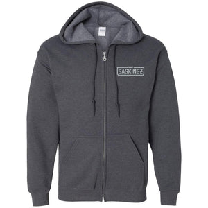 SASKINGZ silver embroidered logo G186 Gildan Zip Up Hooded Sweatshirt