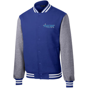Roxtar Trux blue and silver embroidered logo ST270 Sport-Tek Fleece Letterman Jacket