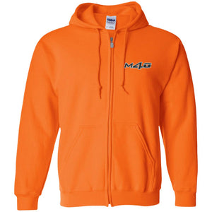 M4O embroidered logo G186 Gildan Zip Up Hooded Sweatshirt