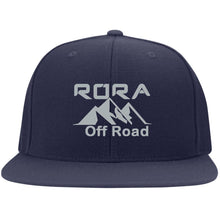Load image into Gallery viewer, RORA silver embroidered logo 6297F Flat Bill Fulback Twill Flexfit Cap