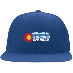 Colorado Off Road embroidered logo 6297F Flat Bill Fulback Twill Flexfit Cap