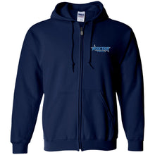 Load image into Gallery viewer, Roxtar Trux blue and silver embroidered logo G186 Gildan Zip Up Hooded Sweatshirt