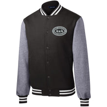 Load image into Gallery viewer, HCP4x4 silver & black embroidered logo ST270 Sport-Tek Fleece Letterman Jacket