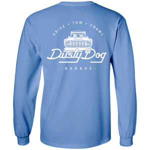Dusty Dog white logo 2-sided print G240 Gildan LS Ultra Cotton T-Shirt