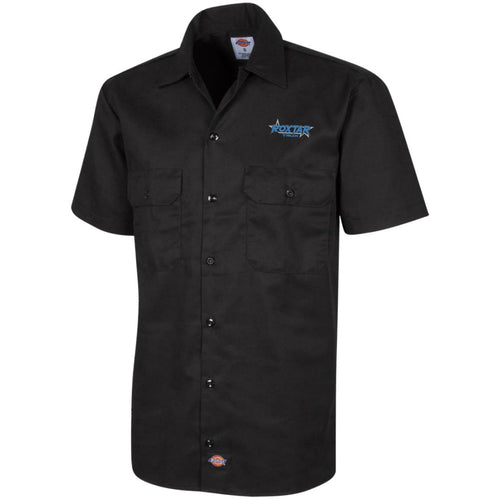 Roxtar Trux blue and silver embroidered logo 1574 Dickies Men's Short Sleeve Workshirt
