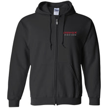 Load image into Gallery viewer, Dark Side Racing red. black & silver embroidered G186 Gildan Zip Up Hooded Sweatshirt