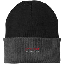 Load image into Gallery viewer, Dark Side Racing red. black & silver embroidered CP90 Port Authority Knit Cap