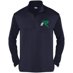R silver & green embroidered ST357 Sport-Tek Competitor 1/4-Zip Pullover