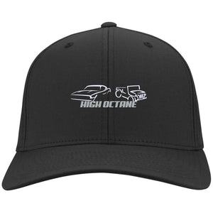 High Octane white & silver embroidered logo C813 Port Authority Flex Fit Twill Baseball Cap