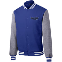 Load image into Gallery viewer, Roxtar Trux black and silver embroidered logo ST270 Sport-Tek Fleece Letterman Jacket
