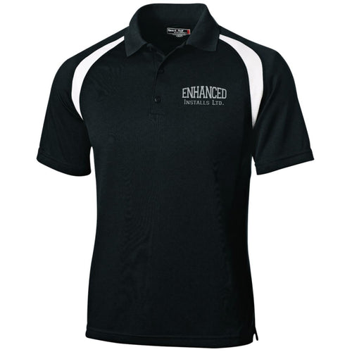 Enhanced Installs silver embroidered T476 Sport-Tek Moisture-Wicking Tag-Free Golf Shirt