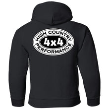 Load image into Gallery viewer, HCP4x4 black & white logo 2-sided print G185B Gildan Youth Pullover Hoodie