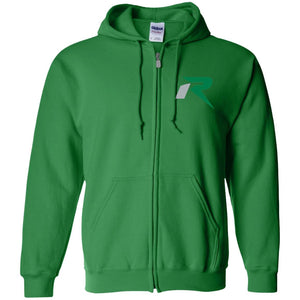 R silver & green embroidered G186 Gildan Zip Up Hooded Sweatshirt