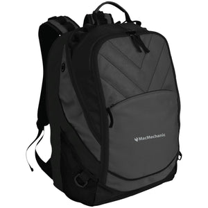 MacMechanic silver embroidered logo BG100 Port Authority Laptop Computer Backpack