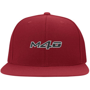 M4O embroidered logo 6297F Flat Bill Fulback Twill Flexfit Cap