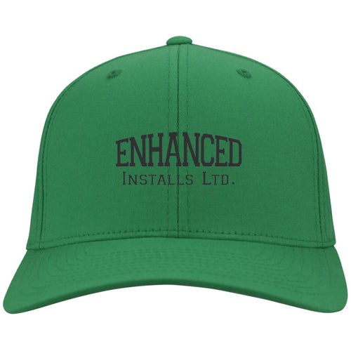 Enhanced Installs black embroidered C813 Port Authority Fullback Flex Fit Twill Baseball Cap