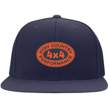 Load image into Gallery viewer, HCP4x4 orange & blue embroidered logo 6297F Flat Bill Fulback Twill Flexfit Cap