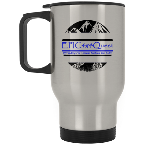 Circle EPIC Mountain Black and Blue XP8400S Silver Stainless Travel Mug