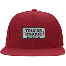 Load image into Gallery viewer, Trucks Unique black & silver embroidered logo 6297F Flat Bill Fulback Twill Flexfit Cap