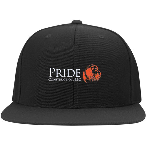 Pride white and orange embroidered logo 6297F Fullback Flat Bill Twill Flexfit Cap