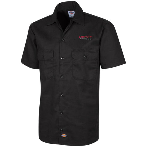 Dark Side Racing red. black & silver embroidered 1574 Dickies Men's Short Sleeve Workshirt
