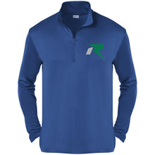 Load image into Gallery viewer, R silver & green embroidered ST357 Sport-Tek Competitor 1/4-Zip Pullover