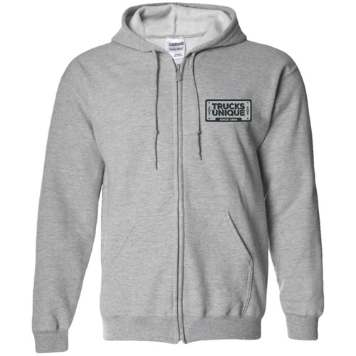 Trucks Unique black & silver embroidered logo G186 Gildan Zip Up Hooded Sweatshirt