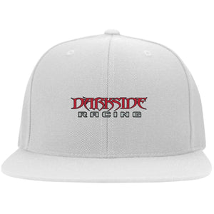 Dark Side Racing red. black & silver embroidered 6297F Flat Bill Fullback Twill Flexfit Cap