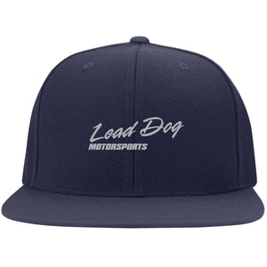 LEAD DOG silver embroidered 6297F Yupoong Flat Bill Twill Flexfit Cap