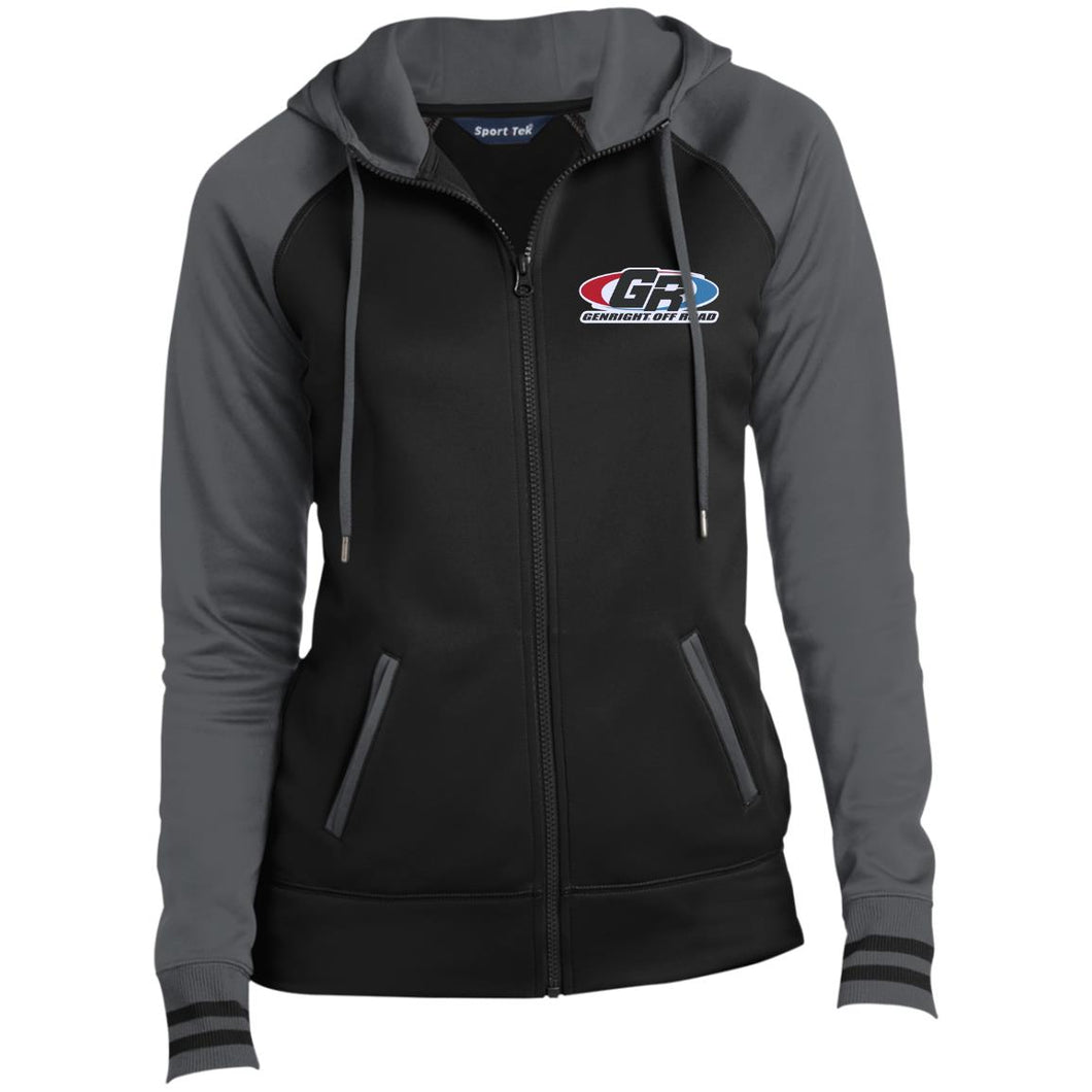GenRight embroidered logo LST236 Ladies' Moisture Wick Full-Zip Hooded Jacket