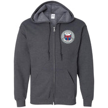 Load image into Gallery viewer, JC's British silver embroidered logo G186 Gildan Zip Up Hooded Sweatshirt