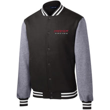 Load image into Gallery viewer, Dark Side Racing red. black & silver embroidered ST270 Sport-Tek Fleece Letterman Jacket