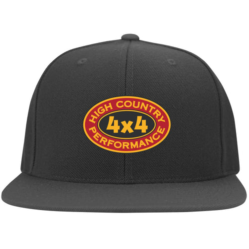 High Country original embroidered logo 6297F Yupoong Flat Bill Twill Flexfit Cap