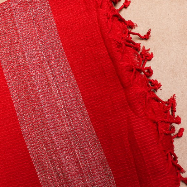 Red Khadi Cotton Saree