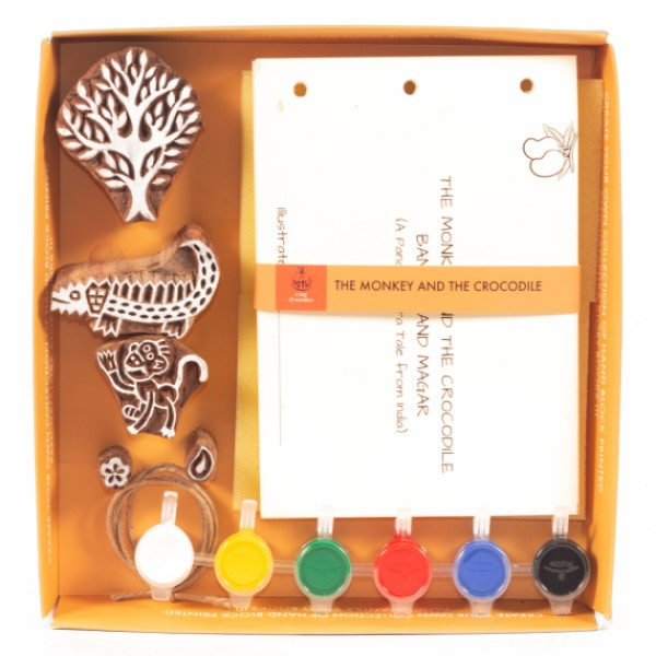 DIY Panchtantra Block Printing Kit ~ The Monkey & The Crocodile