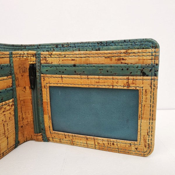 Teal Blue Bi Fold Wallet with Coin Section