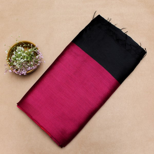 Black and Pink Silk Sari