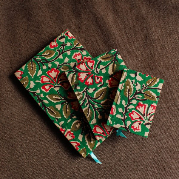Fabric Cover Hard Bound Notebook ~ Green Floral