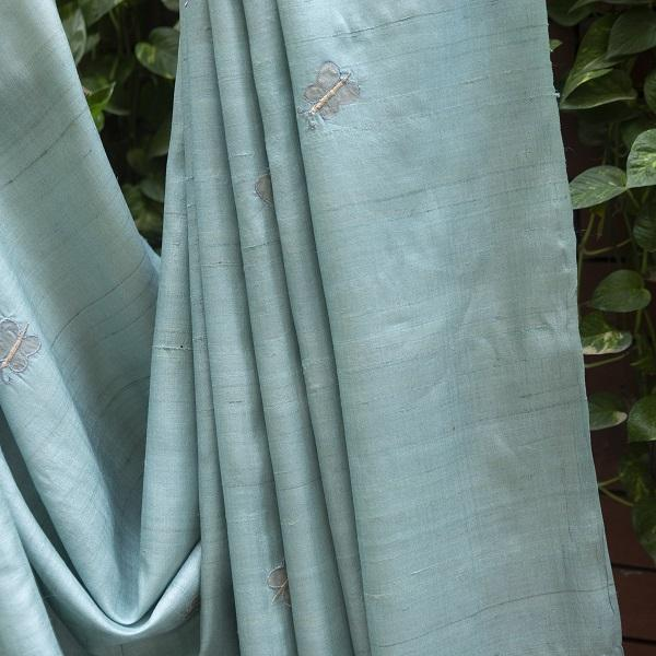 Blue and Silver Silk Sari
