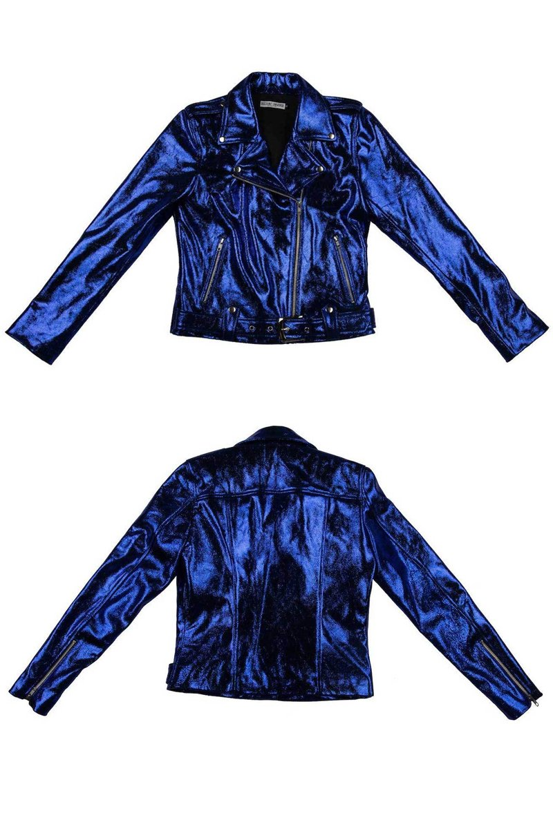 'CLASSIC' DU Biker Jacket Blue cracked metallic