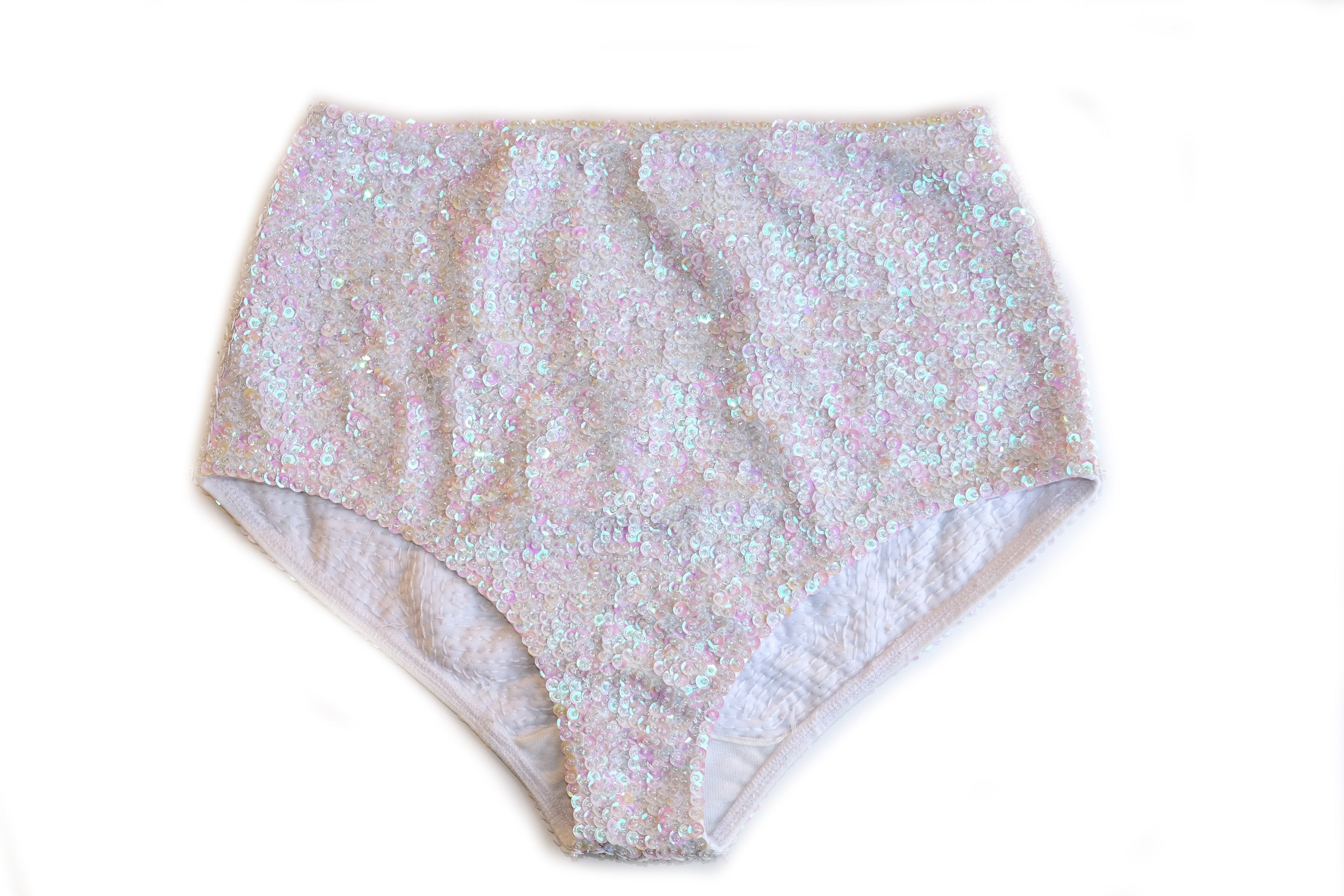 'White' Fully Sequined Bikini Bottoms