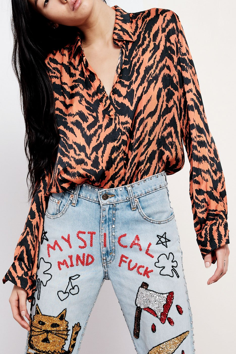 Tiger Print Button Down
