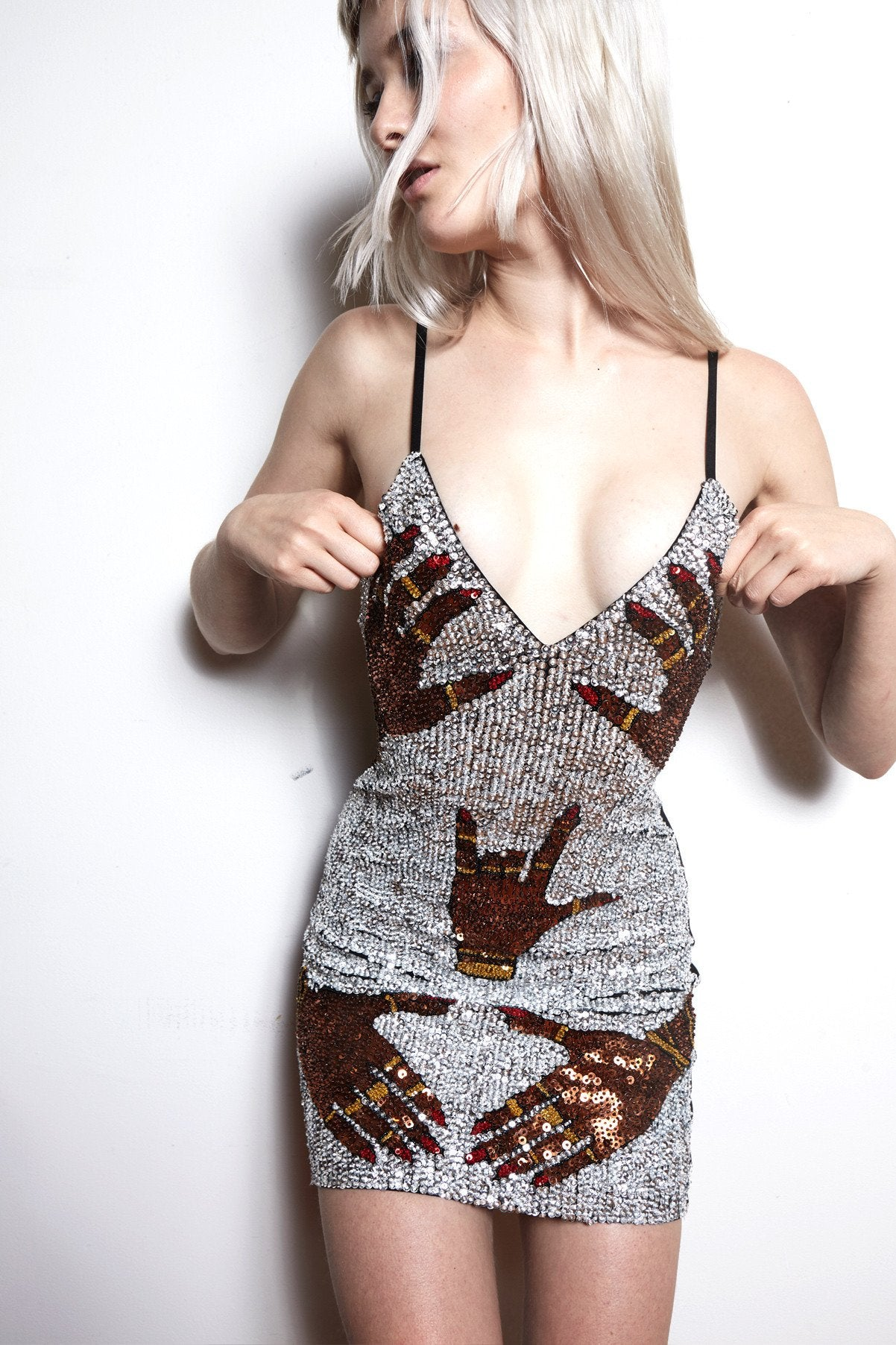 'SILVER HANDS OFF' Mini Bralet Dress