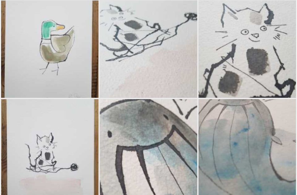 Original A4 watercolour drawings for my greeting cards.