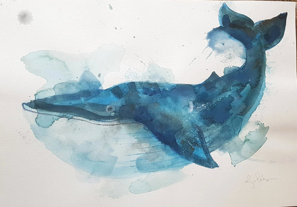 Original A3 Watercolour blue whale